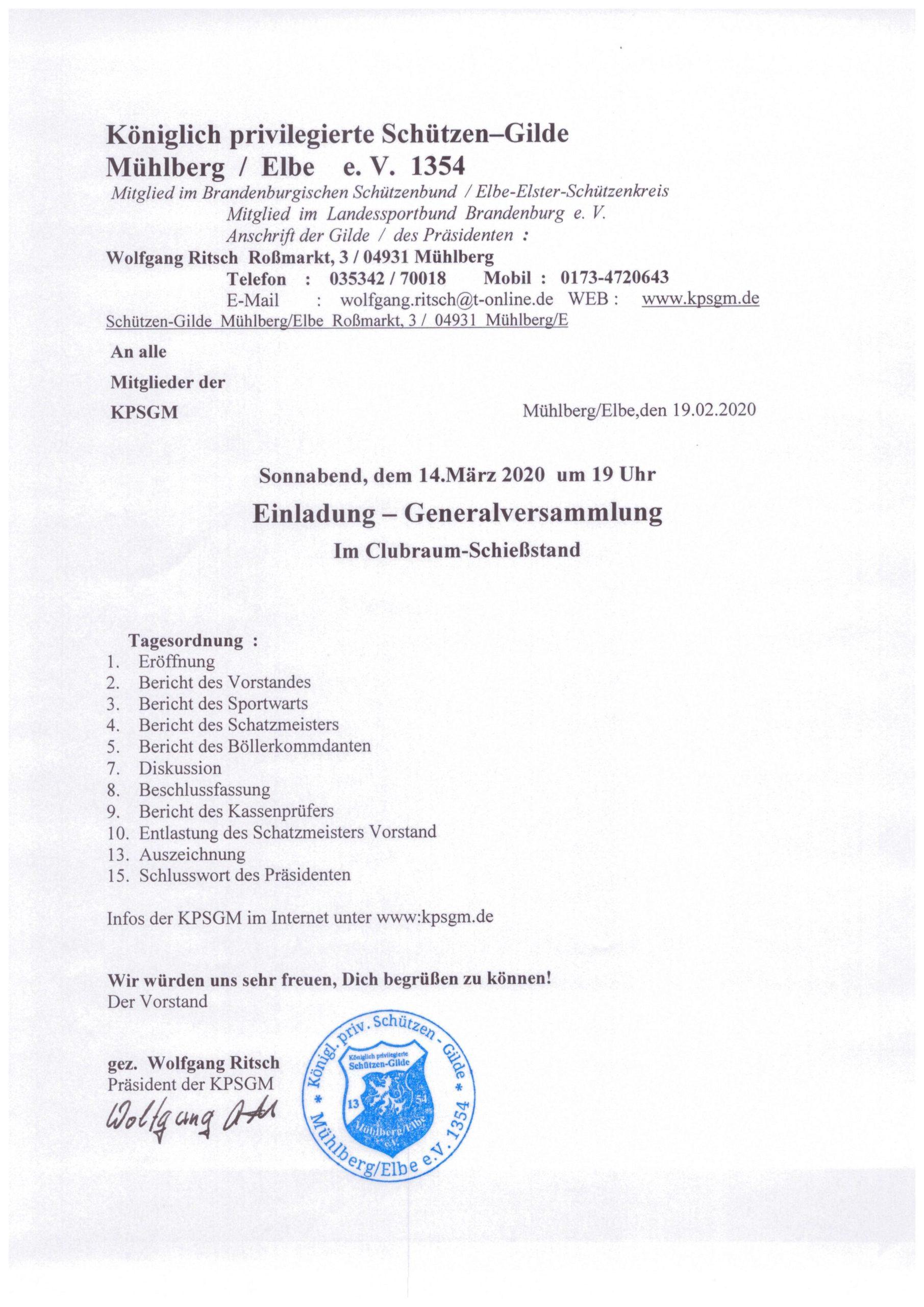 Generalversammlung KPSGM 2020